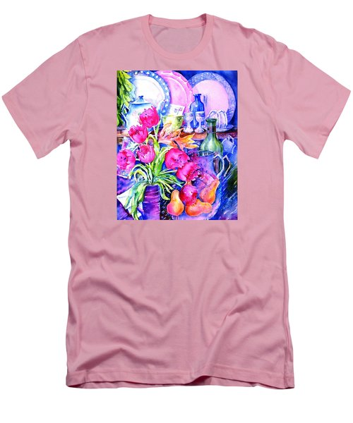 Men's T-Shirt (Slim Fit) featuring the painting Still Life With Tulips  by Trudi Doyle