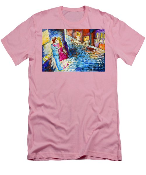 Men's T-Shirt (Slim Fit) featuring the painting Street Kiss By Night  by Ramona Matei