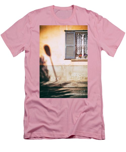 Men's T-Shirt (Slim Fit) featuring the photograph Street Lamp Shadow And Window by Silvia Ganora
