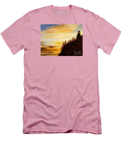 Men's T-Shirt (Slim Fit) featuring the painting Sunset At Bass Harbor by Lee Piper