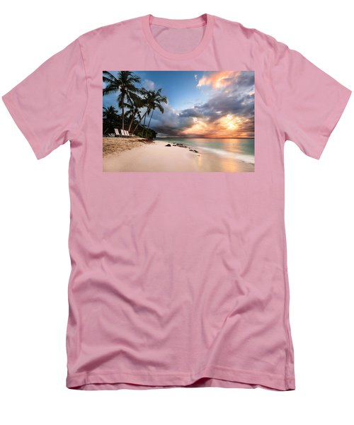 Sunset Over Bacardi Island Men's T-Shirt (Slim Fit) by Mihai Andritoiu