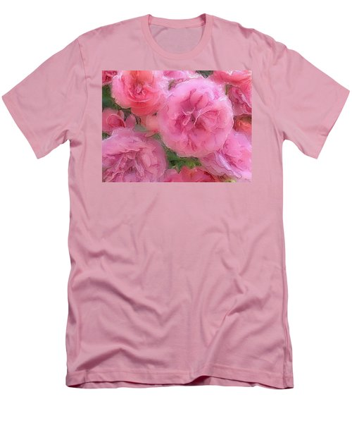 Men's T-Shirt (Slim Fit) featuring the mixed media Sweet Pink Roses  by Gabriella Weninger - David