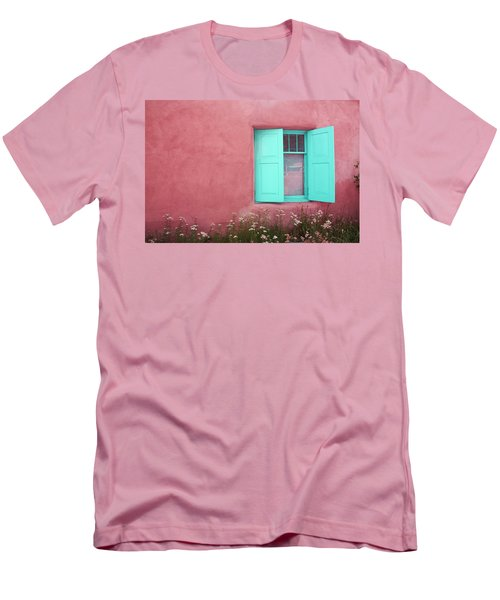 Men's T-Shirt (Slim Fit) featuring the photograph Taos Window I by Lanita Williams