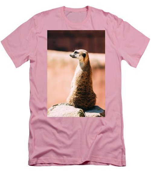 The Lonely Meerkat Men's T-Shirt (Slim Fit) by Pati Photography
