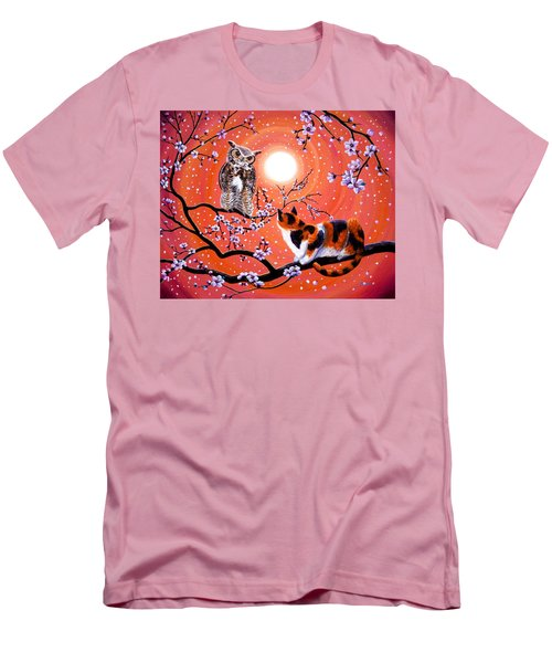 The Owl And The Pussycat In Peach Blossoms Men's T-Shirt (Slim Fit) by Laura Iverson