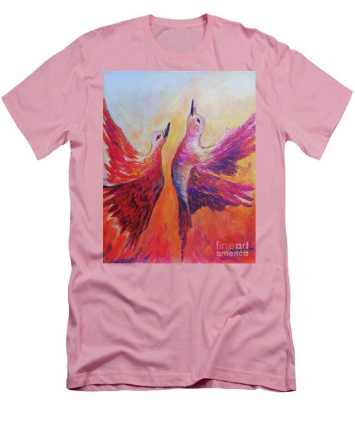 Men's T-Shirt (Slim Fit) featuring the painting Towards Heaven by Sher Nasser