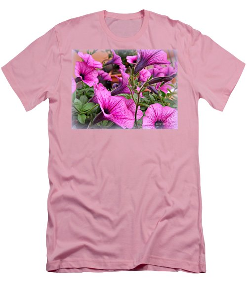 Men's T-Shirt (Slim Fit) featuring the photograph Trailing Petunias by Clare Bevan