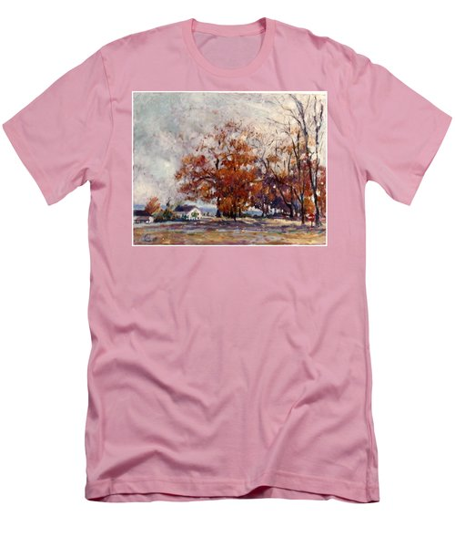 Men's T-Shirt (Slim Fit) featuring the painting Up State Ny - Nyack by Walter Casaravilla