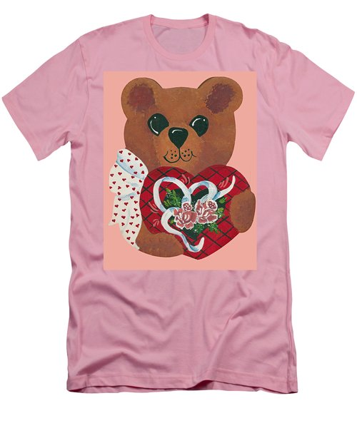 Men's T-Shirt (Slim Fit) featuring the painting Valentine Hug by Barbara McDevitt