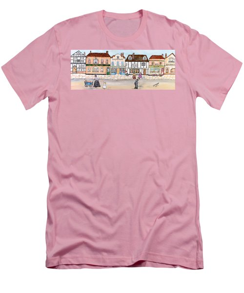 Men's T-Shirt (Slim Fit) featuring the painting Villaggio Antico by Loredana Messina