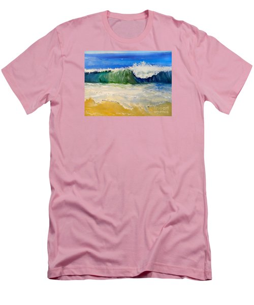 Watching The Wave As Come On The Beach Men's T-Shirt (Slim Fit) by Pamela  Meredith