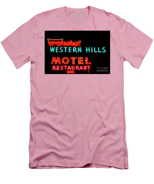 Western Hills Motel Sign Men's T-Shirt (Slim Fit) by Sue Smith