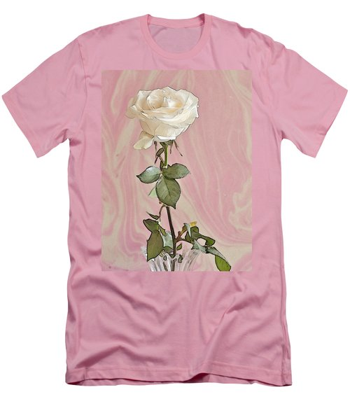 Men's T-Shirt (Slim Fit) featuring the photograph White Long Stemmed Rose by Sandra Foster