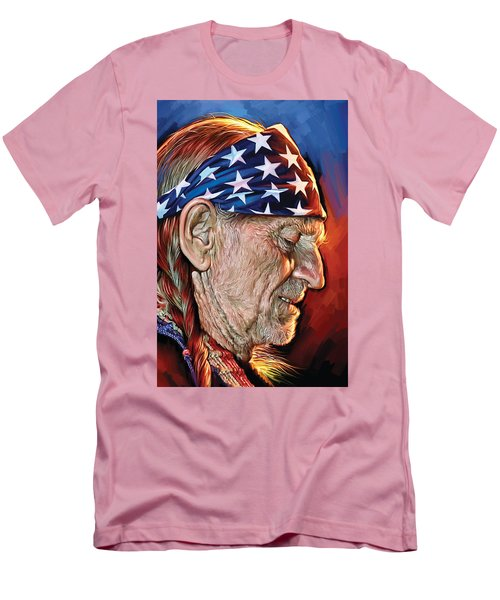 Men's T-Shirt (Slim Fit) featuring the painting Willie Nelson Artwork by Sheraz A