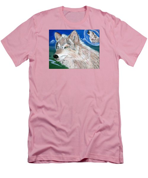 Men's T-Shirt (Slim Fit) featuring the painting Wolves by Phyllis Kaltenbach