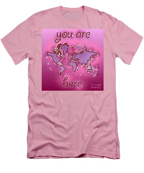 World Map You Are Here Amuza In Purple And Pink Men's T-Shirt (Slim Fit) by Eleven Corners