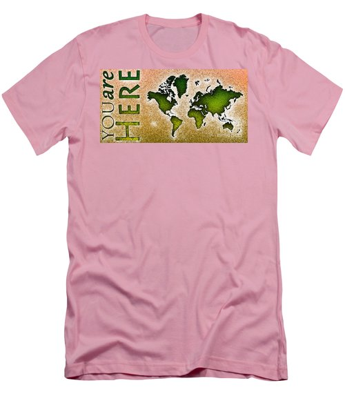 World Map You Are Here Novo In Green And Orange Men's T-Shirt (Athletic Fit)