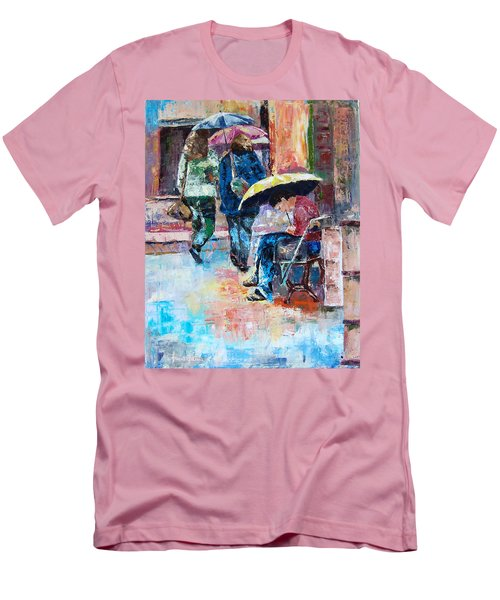 Yellow Umbrella Men's T-Shirt (Slim Fit) by Janet Garcia