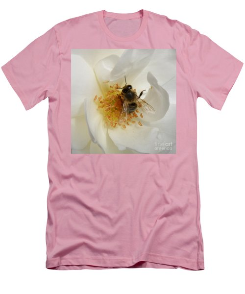 Men's T-Shirt (Slim Fit) featuring the photograph Bee In A White Rose by Lainie Wrightson