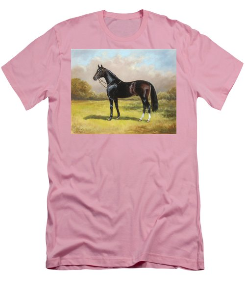 Black English Horse Men's T-Shirt (Athletic Fit)
