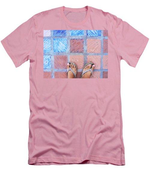 Cross-legged On A Colorful Sidewalk Men's T-Shirt (Slim Fit) by Anne Mott
