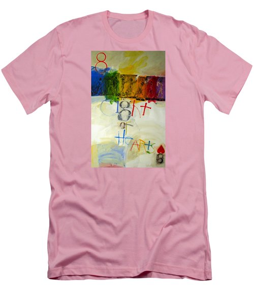 Men's T-Shirt (Slim Fit) featuring the painting Eight Of Hearts 34-52 by Cliff Spohn