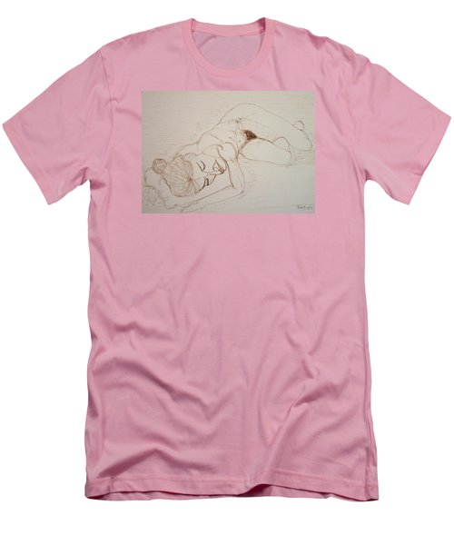 Female Nude Lying Men's T-Shirt (Slim Fit) by Rand Swift