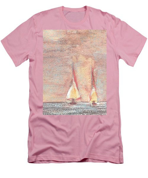 Men's T-Shirt (Slim Fit) featuring the painting Golden Sails by Richard James Digance