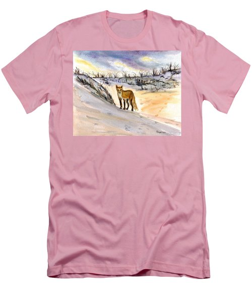 Men's T-Shirt (Slim Fit) featuring the painting Jersey Shore Fox by Clara Sue Beym