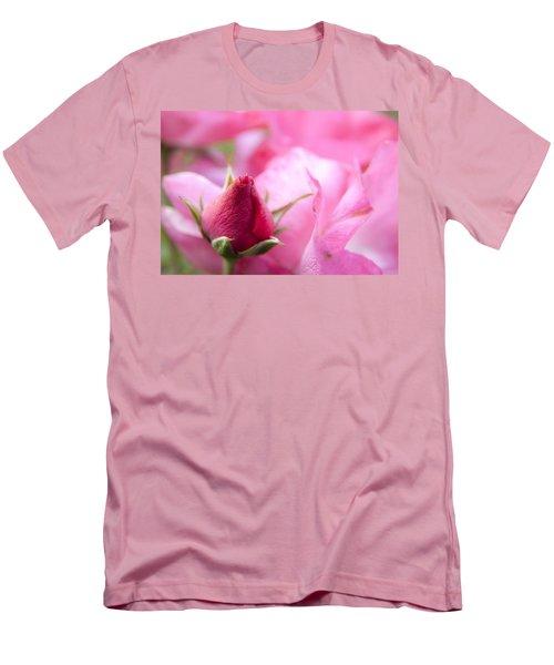 Pink Rose Men's T-Shirt (Slim Fit) by Jeannette Hunt