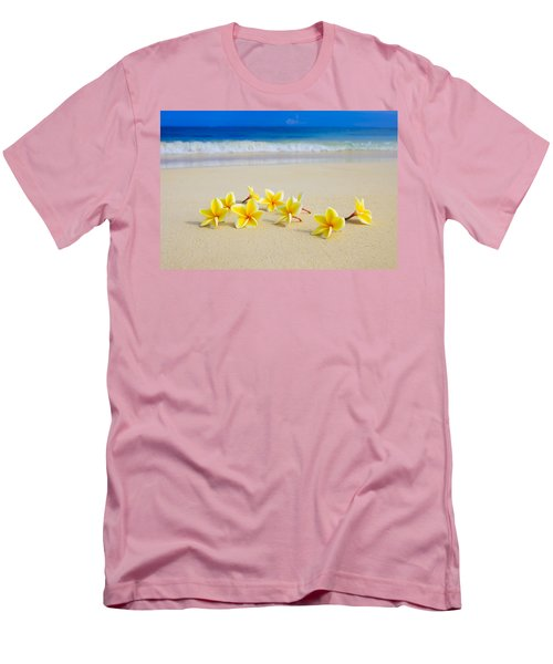 Plumerias On Beach II Men's T-Shirt (Slim Fit) by Tomas del Amo