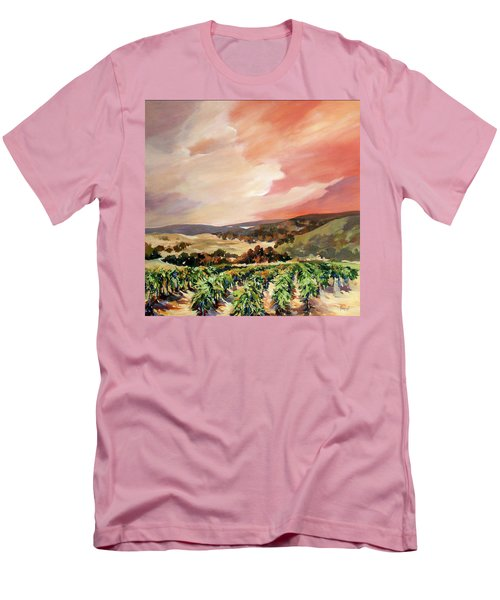 Men's T-Shirt (Slim Fit) featuring the painting Rolling Vineyards 2 by Rae Andrews
