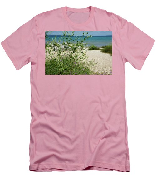 Men's T-Shirt (Slim Fit) featuring the photograph Shades Of Blue by Linda Shafer