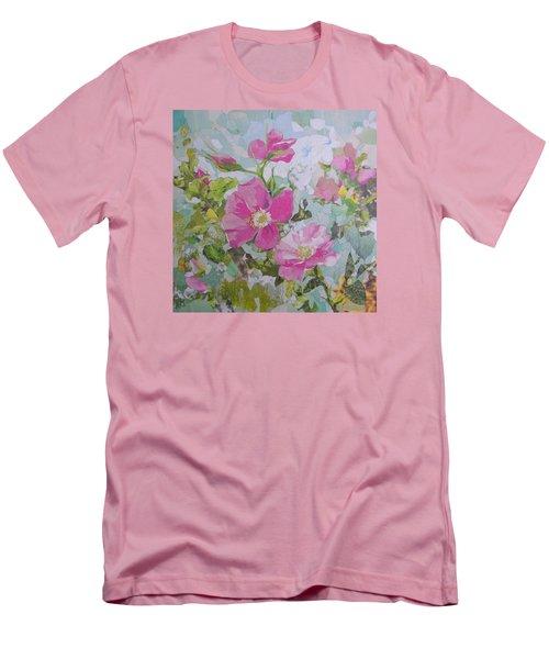 Shrub Roses Men's T-Shirt (Slim Fit) by Robin Birrell
