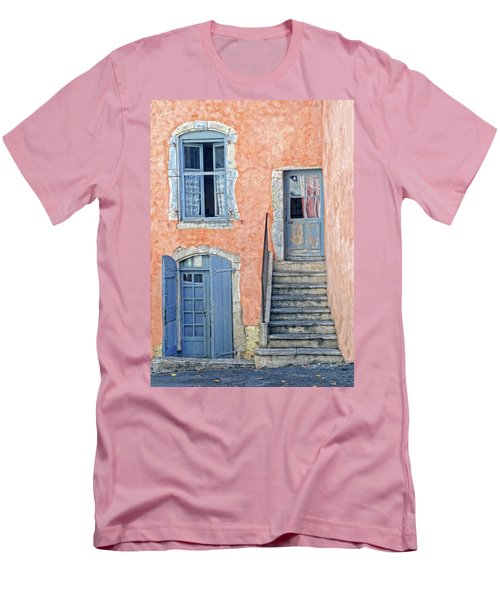 Men's T-Shirt (Slim Fit) featuring the photograph Window And Doors Provence France by Dave Mills