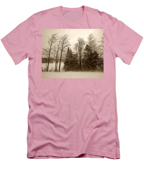 Men's T-Shirt (Slim Fit) featuring the photograph Winter Treeline by Hugh Smith