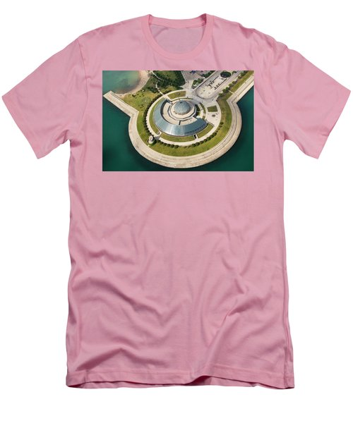 Men's T-Shirt (Athletic Fit) featuring the photograph Adler Planetarium Aerial by Adam Romanowicz