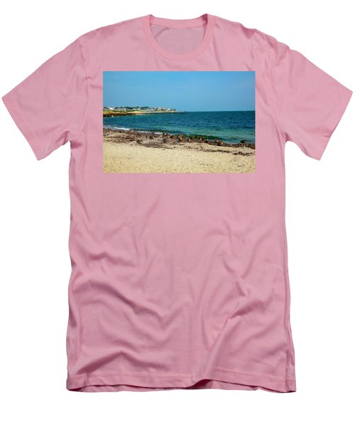 Men's T-Shirt (Slim Fit) featuring the photograph Birds On The Beach by Madeline Ellis