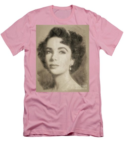 Elizabeth Taylor, Vintage Hollywood Legend By John Springfield Men's T-Shirt (Athletic Fit)