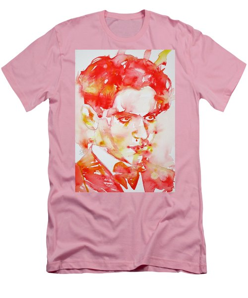 Men's T-Shirt (Slim Fit) featuring the painting Federico Garcia Lorca - Watercolor Portrait by Fabrizio Cassetta