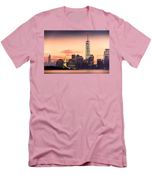 Lower Manhattan And The Statue Of Liberty At Sunrise Men's T-Shirt (Athletic Fit)
