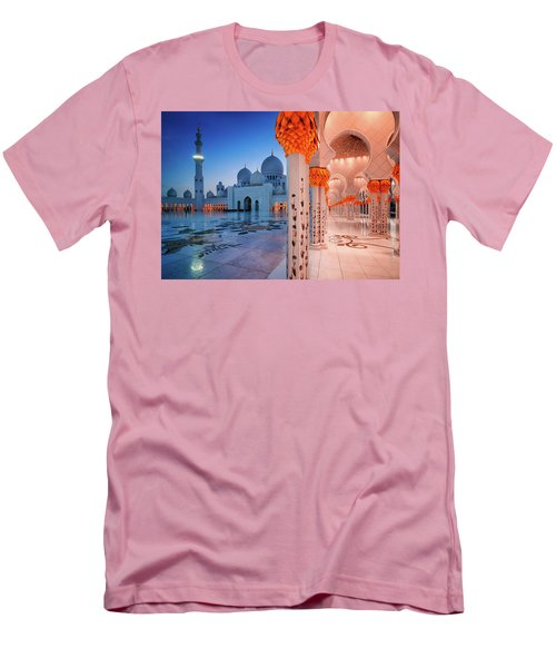 Night View At Sheikh Zayed Grand Mosque, Abu Dhabi, United Arab Emirates Men's T-Shirt (Athletic Fit)