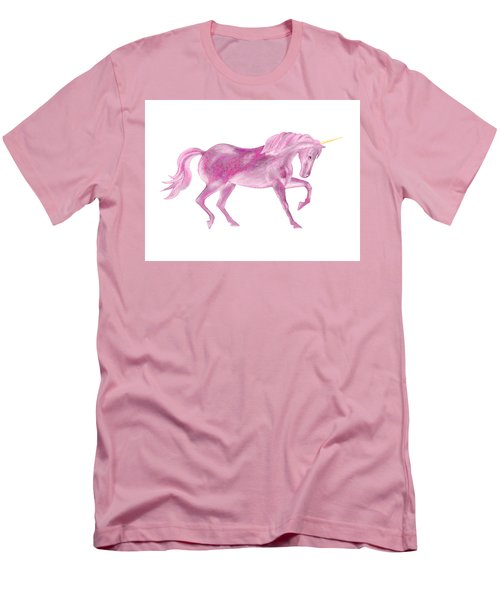 Men's T-Shirt (Athletic Fit) featuring the mixed media Pink Unicorn by Elizabeth Lock