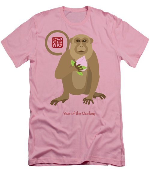 2016 Chinese Year Of The Monkey With Peach Men's T-Shirt (Slim Fit) by Jit Lim