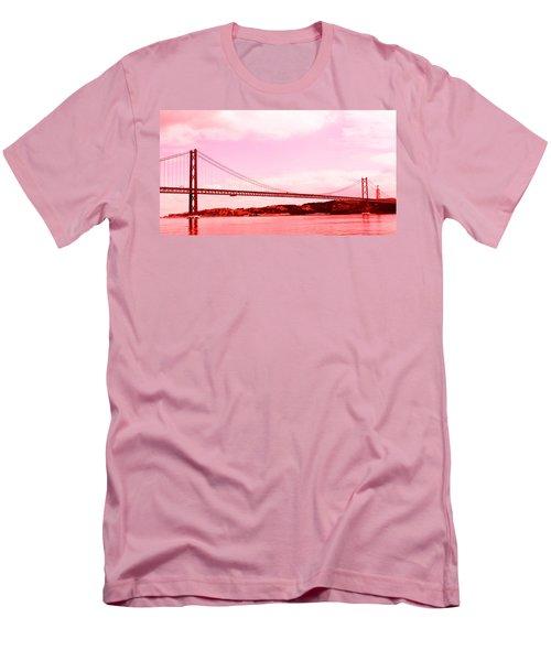 Men's T-Shirt (Slim Fit) featuring the photograph 25 De Abril Bridge In Crimson by Lorraine Devon Wilke