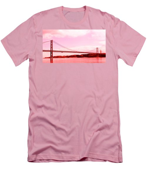 25 De Abril Bridge In Crimson Men's T-Shirt (Athletic Fit)
