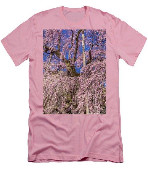 Men's T-Shirt (Athletic Fit) featuring the photograph Miharu Takizakura Weeping Cherry25 by Tatsuya Atarashi