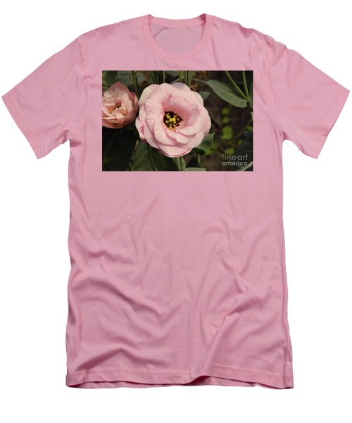 Pink Flowers Men's T-Shirt (Slim Fit) by Elvira Ladocki