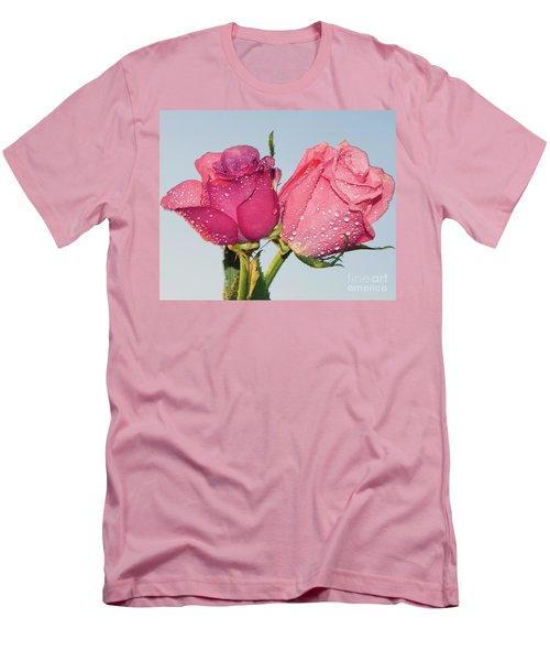 Two Roses Men's T-Shirt (Slim Fit) by Elvira Ladocki