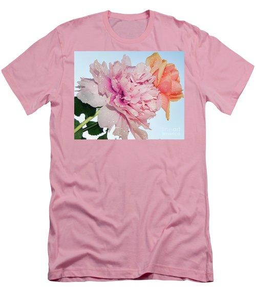 Two Flowers Men's T-Shirt (Slim Fit) by Elvira Ladocki